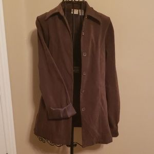 Brown fitted faux suede blazer